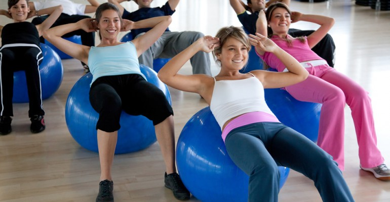 pilates class in a gym